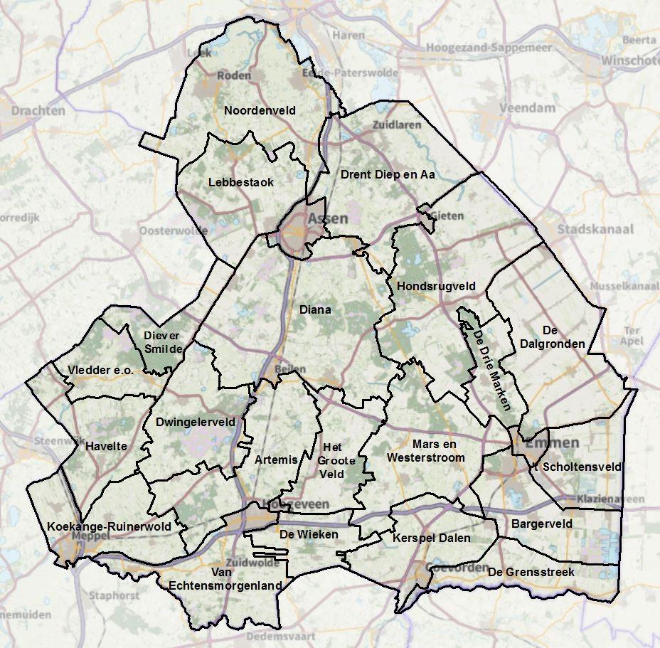 kaart wbe's Drenthe